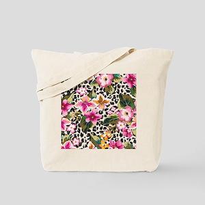 Animal Print Flower Tote Bag