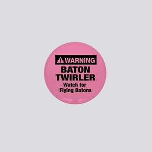 WARNING Baton Twirler Mini Button