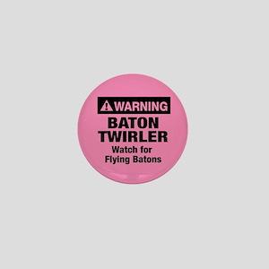 WARNING Baton Twirler Mini Button