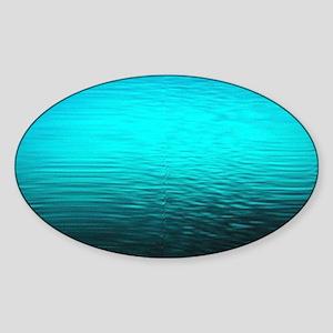 aqua blue water ombre black Sticker (Oval)