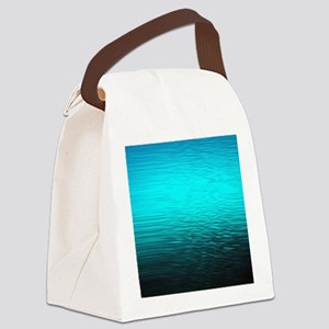 aqua blue water ombre black Canvas Lunch Bag