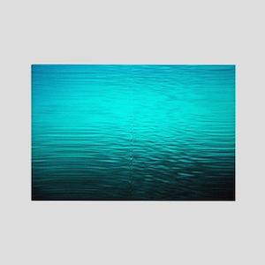 aqua blue water ombre black Rectangle Magnet