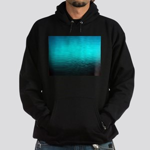 aqua blue water ombre black Hoodie (dark)