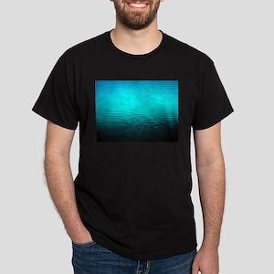 Aqua Blue Water Ombre Black T Shirt