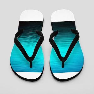 aqua blue water ombre black Flip Flops