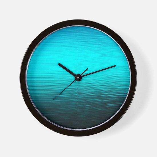 aqua blue water ombre black Wall Clock