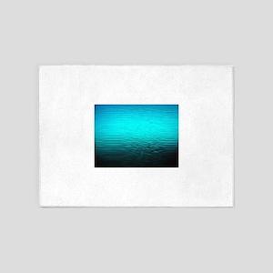 aqua blue water ombre black 5'x7'Area Rug
