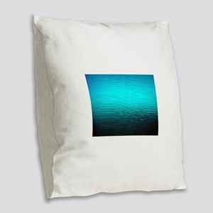 aqua blue water ombre black Burlap Throw Pillow