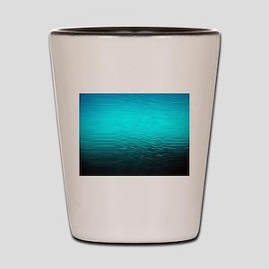 aqua blue water ombre black Shot Glass