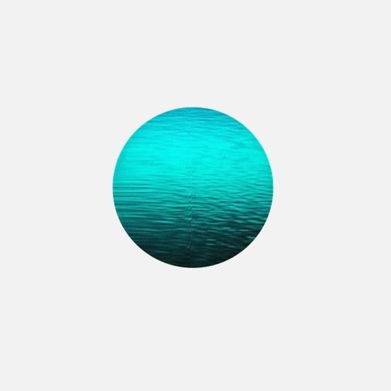 aqua blue water ombre black Mini Button