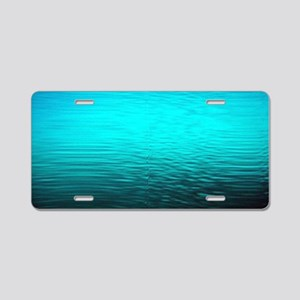 aqua blue water ombre black Aluminum License Plate
