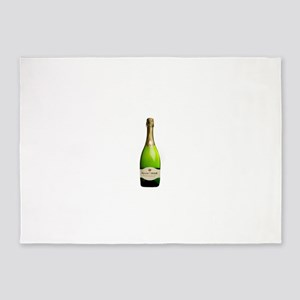 green champagne bottle photo 5'x7'Area Rug