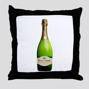 green champagne bottle photo Throw Pillow