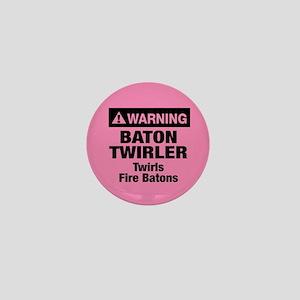 Fire Baton Twirler Mini Button
