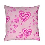 Celtic Pink Hearts Everyday Pillow