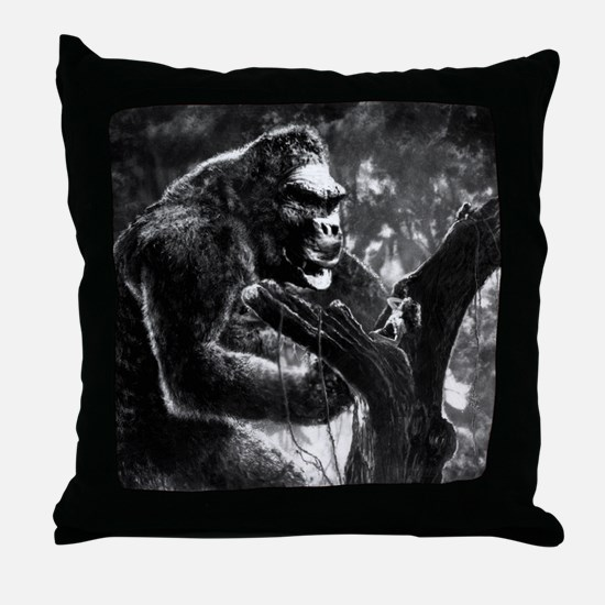 vintage king kong ape photo Throw Pillow