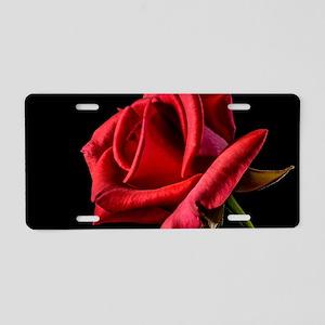 Red Rose Sideways Aluminum License Plate