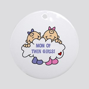 Mom of Twin Girls Ornament (Round)