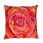 Red Orange Rose Watercolor Everyday Pillow