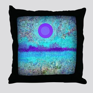 Purple Moon and Wild Flowers Throw Pillow