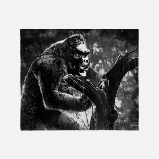 vintage king kong ape photo Throw Blanket