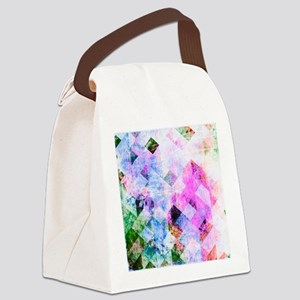 Pink/Blue Geometric Grungy Diamon Canvas Lunch Bag