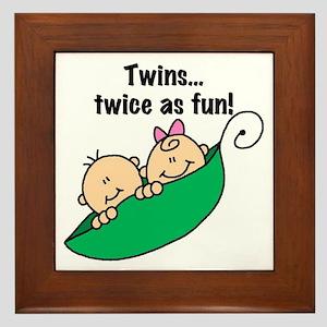 Twins Twice as Fun Framed Tile