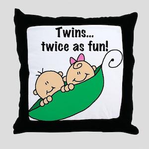 Twins Twice as Fun Throw Pillow