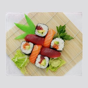 sushi asian japanese food photo Throw Blanket