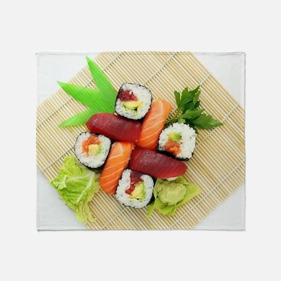 sushi asian japanese food photo Throw Blanket