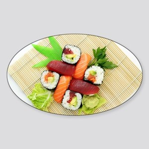 sushi asian japanese food photo Sticker (Oval)