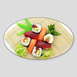 sushi asian japanese food photo Sticker (Oval)