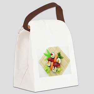sushi asian japanese food photo Canvas Lunch Bag