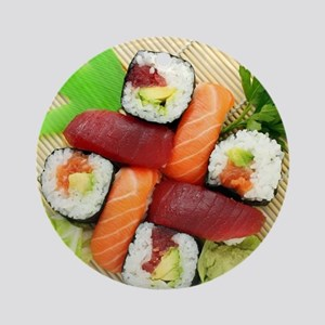 sushi asian japanese food photo Ornament (Round)