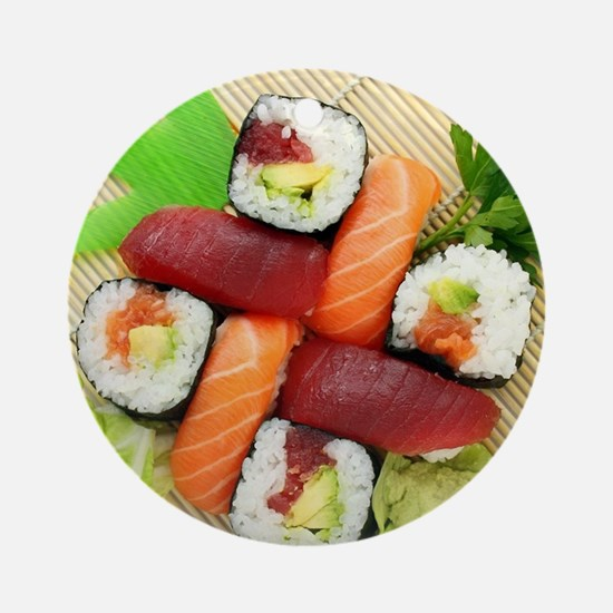 sushi asian japanese food photo Ornament (Round)