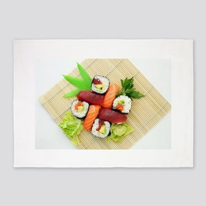 sushi asian japanese food photo 5'x7'Area Rug