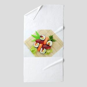 sushi asian japanese food photo Beach Towel