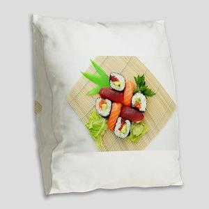 sushi asian japanese food phot Burlap Throw Pillow