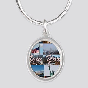 New York Pro Photo Montage-St Silver Oval Necklace