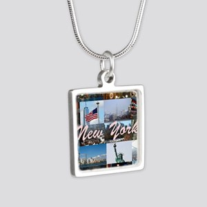 New York Pro Photo Montage Silver Square Necklace