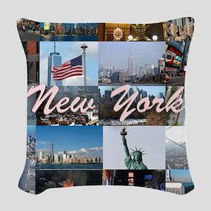 New York Pro Photo Montage-Stu Woven Throw Pillow