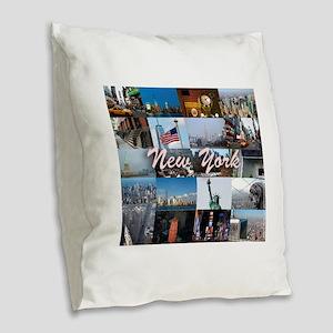 New York Pro Photo Montage-Stu Burlap Throw Pillow