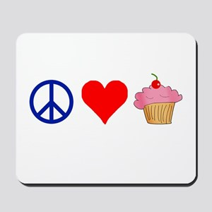 Peace Love Cupcakes Mousepad