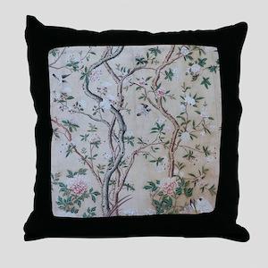 antique floral pastel wallpaper Throw Pillow