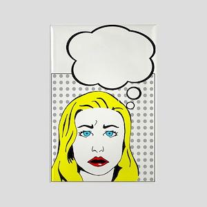 white pop art comic cartoon Rectangle Magnet
