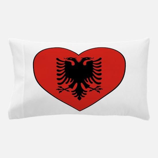 Albania Heart Pillow Case