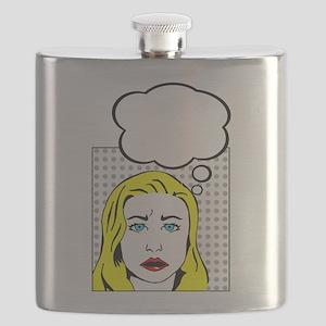 white pop art comic cartoon Flask