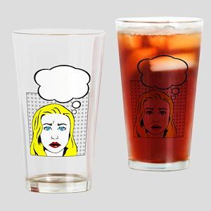 white pop art comic cartoon Drinking Glass
