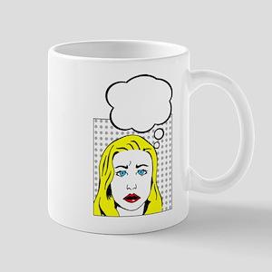 white pop art comic cartoon Mugs