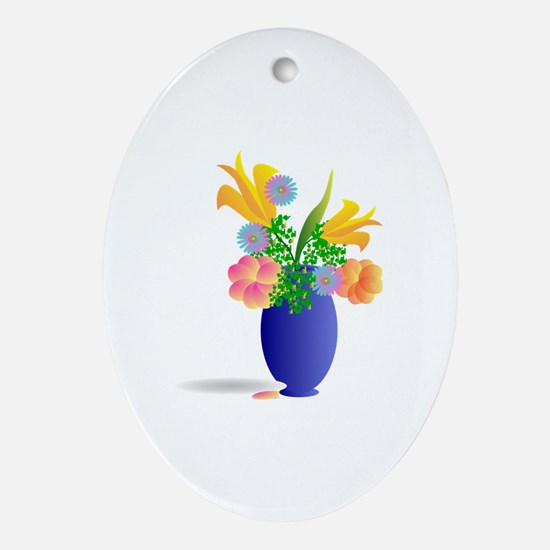 Spring Bouquet in Blue Vase Oval Ornament